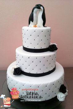 Penguins wedding cake