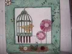 Caged Bird Cage, Textiles, Bird, Painting, Birds, Painting Art, Paintings, Fabrics, Painted Canvas
