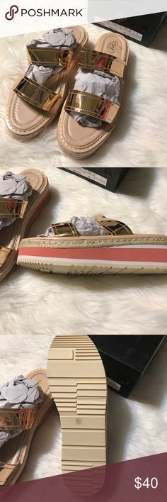 Rose gold sandals Size 8.5. Rose gold. Pinky peach sides. Slip on. Wedge is 2 inches. New in box. Miss L by Liliana Shoes Sandals