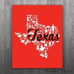Lubbock, Texas Landmark State Giclée Print - 8x10 - Red and Black University Print - Original and Unique Graduation Gift on Etsy, $15.00