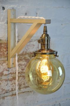 Wall Sconce Glass Globe Antique Brass Birch Wood by wiresNjars