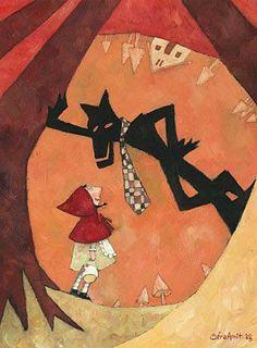 wall art fairy tail il lupo,Art print Cappuccetto Rosso