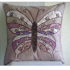 Butterfly Love - Throw Pillow Covers - 16x16 Inches Silk Pillow Cover Embroidered with Sequins and Beads