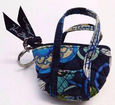 Vera Bradley Mod Floral Blue Mini Miller Key Chain Ring Tote Coin Purse #VeraBradley