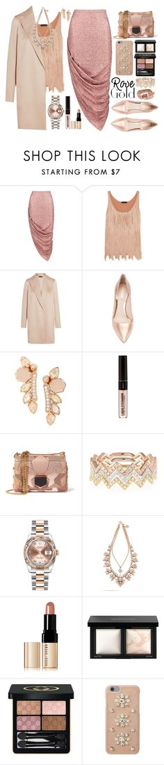 """""""So Pretty: Rose Gold Jewelry"""" by sinesnsingularities ❤ liked on Polyvore featuring Boohoo, Tom Ford, The Row, Nicholas Kirkwood, Kendra Scott, Jimmy Choo, EF Collection, Rolex, Ellen Conde and Bobbi Brown Cosmetics"""