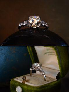 1930s Art Deco 1.35ct European Cut Diamond Engagement Ring (VS2/M)Marquise and Single Cut Diamond Sides, Platinum, (sold)