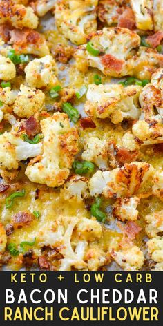 This super easy low-carb side is loaded with all of your favorite flavors! The crispy bits of bacon and cheese pair perfectly with tender, keto-friendly cauliflower! Easy Bacon Recipes, Delicious Dinner Recipes, Side Dish Recipes, Veggie Recipes, Lunch Recipes, Delicious Food, Yummy Recipes, Healthy Recipes, Low Carb Side Dishes