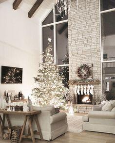 awesome all white interior | white holiday decor | farmhouse living room |stone fireplac...
