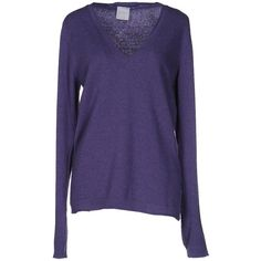 25.10 Per Maurizio Collection Sweater (€66) ❤ liked on Polyvore featuring tops, sweaters, purple, purple sweater, purple top, v neck jumper, v-neck sweater and lightweight sweaters