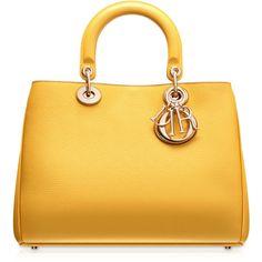 "DIORISSIMO Petit sac ""Diorissimo"" taurillon tournesol ❤ liked on Polyvore featuring bags, handbags, purses, dior, yellow, braun, purse bag, yellow hand bags, yellow bag and handbags purses"