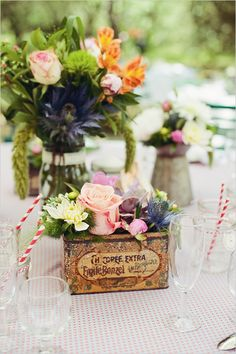 Provence Countryside Wedding Filled With Whismy and decked out with eclectic decor and a suicide double door vw bus Tin Can Flowers, Vintage Flowers, Vintage Box, Floral Wedding, Diy Wedding, Wedding Flowers, Wedding Bells, Table Arrangements, Floral Arrangements