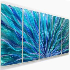 Large Stunning Abstract Blue, Purple, Green Metal Wall Art - Modern Colorful Statement Piece Home Decor Sculpture - Blue Aurora By Jon Allen