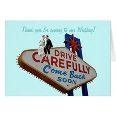 Las Vegas Wedding Thank You Cards Thank you for coming to our Wedding! In Fabulous L Card