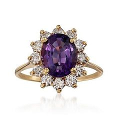 1990 Vintage Tiffany Jewelry 2.60 Carat Amethyst Diamond Ring in 18kt Yellow Gold