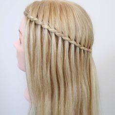 Easy Hairstyles For Medium Hair, Braids For Short Hair, Cute Hairstyles, Braided Hairstyles, Braid Front Of Hair, Front Hair Styles, Medium Hair Styles, Waterfall Hairstyle, How To Waterfall Braid