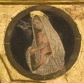 Girolamo di Giovanni - Annunciata, dettaglio Polittico di Monte San Martino - 1473 - Chiesa di San Martino vescovo, Monte San Martino, in provincia di Macerata.