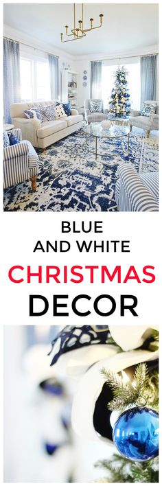 Looking for a little blue and white Christmas decor? Heres how I decorated my living room in blue and white. Looking for a little blue and white Christmas decor? Heres how I decorated my living room in blue and white. All Things Christmas, Christmas Home, White Christmas, Christmas Holidays, Christmas Crafts, Christmas Decorations, Beach Christmas, Christmas Outfits, Christmas Trees