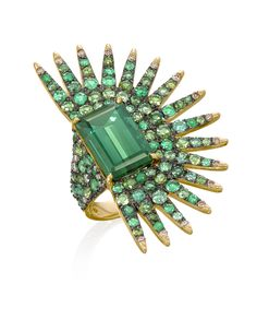 Bold green piece perfect for holiday outfits. via National Jeweler - Garden Party, Anel Palmeira