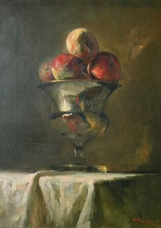 Aaron Shikler Still Life with Fruit in a Silver... - still life quick heart