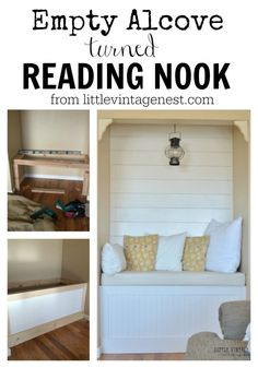 Empty Alcove turned Reading Nook with Planked Wall from Little Vintage Nest Wall Nook, Tv Nook, Cozy Nook, Cozy Corner, Book Nooks, Living Room Nook, Bedroom Nook, Bedroom Ideas, Alcove Seating