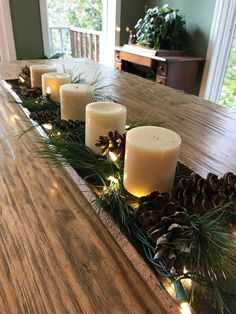 Your Thanksgiving Day will not feel complete without some Thanksgiving table centerpiece decorations. Then, where can you find the table centerpieces? Christmas Dining Table, Christmas Candle Decorations, Holiday Centerpieces, Rustic Centerpieces, Centerpiece Decorations, Decoration Table, Christmas Candles, Holiday Tables, Christmas Trees