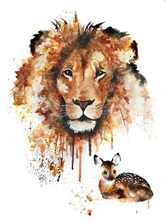 Lion and Fawn Print
