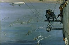 The North Sea class of non-rigid airship was designed for sea patrols with the British Grand Fleet. The N.S.7 had a small car for the engine and a separate enclosed control car, in which Lavery sat and made sketches during the flight. He was one of the first artists to paint scenes from the air during the war