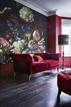 10 Best Autumn Winter 2018 Interior Design Trends - Home Design Ideas Home Design, Home Interior Design, 2018 Interior Design Trends, Wall Design, Color Interior, Purple Interior, Vintage Interior Design, Red Design, Classic Interior