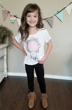 Little Girls Dream Catcher Top, Top, Cap Sleeve Top, Ryleigh Rue Clothing, Online Clothing, Online Boutique, Online Shopping, Kids Clothing, Kids Boutique, Fashion, Wild Tee, Spring Fashion