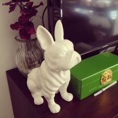 Laura LeBlanc is excited to display her new Z Gallerie French Bulldog Coin Bank!