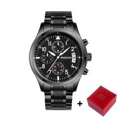 Watches Men Luxury Brand BINSSAW Business Watch Quartz Sport Men Full Steel Wristwatch Waterproof 100m Casual Leather Watch