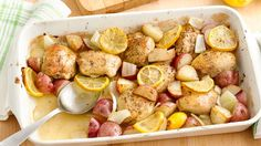 This chicken dish is easy to prepare and comes together quickly. Simply brown the chicken thighs, toss all the ingredients in a pan, and you're good to go. -- 3 tablespoons butter 2 tablespoons packed brown sugar 1 1/2 teaspoons Italian seasoning 1 teaspoon salt 1 package (28 oz) boneless skinless chicken thighs 1 lb baby red potatoes, quartered 1/2 medium yellow onion, cut into large pieces 1 lemon, sliced 1/4 teaspoon pepper