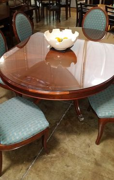 Dining set with 6 chairs! Solid wood and pretty feet too! $589.00
