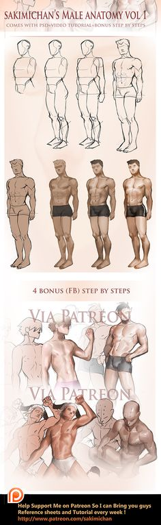 Male Fullbody step by step tutorial by sakimichan.deviantart.com on @DeviantArt