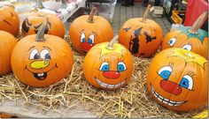 painted pumpkin faces halloween pinterest k rbis. Black Bedroom Furniture Sets. Home Design Ideas