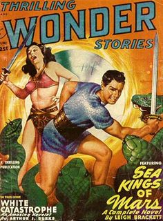"""Why did it have to be snakes?!?""  Thrilling Wonder Stories pulp cover, foreign alien planet woman girl dame sword reptile viper cobra danger fight"