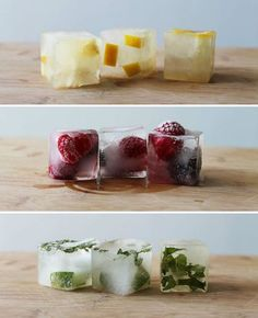 ust think of all the fancy drinks you can make with gourmet ice cubes! Aren't they beautiful? Kids, do attempt to try this at home...    Cucumber & Basil  Fig & Rosemary  Lime & Mint  Lemon & Honey  Raspberries & Blackberries