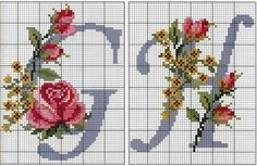 Cross Stitch Alphabet Patterns, Cross Stitch Letters, Cross Stitch Rose, Cross Stitch Flowers, Cross Stitch Designs, Stitch Patterns, Basic Embroidery Stitches, Cross Stitch Embroidery, Cross Stitch Needles