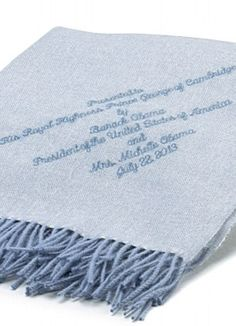 Alicia Adams Alpaca in Buckingham Palace … The personalized alpaca wool blanket presented to George by the Obamas for his Christening
