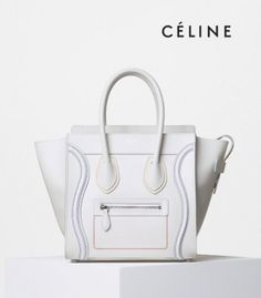 S/S 2016 Celine Collection Outlet-Celine Micro Luggage Handbag with Multicolour Double Stitching in White Calfskin