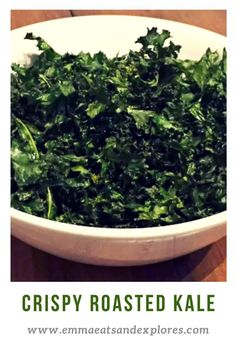 Crispy Roasted Kale by Emma Eats & Explores - SCD, Paleo, Vegan, Vegetarian, Glutenfree, Grainfree, Sugarfree, Dairyfree