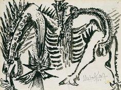 Untitled (1944) by Cuban artist Wifredo Lam (1902-1982). Black ink wash & graphite on paper, 9.75 x 12.5 in. via Michael Rosenfeld Art