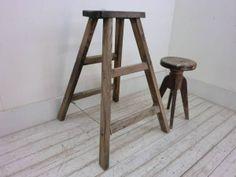 古い木味の折り畳み脚立P66アンティーク踏み台 Antique stepladder ¥1000yen 〆04月17日