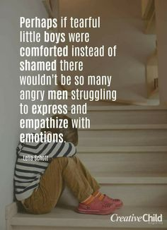 "Fellas, you need feminism too. You wanna be able to cry, to freely express your emotions without being called ""gay"", without having this ""manly men"" stereotype thrown at you? Then blame THE PATRIARCHY for your problems, NOT feminism. Feminism wants to cha Gentle Parenting, Parenting Advice, Kids And Parenting, Attachment Parenting Quotes, Parenting Issues, Peaceful Parenting, Raising Kids, Child Development, Along The Way"