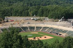 The view from Montage Mountain of the ongoing renovations at PNC Field.