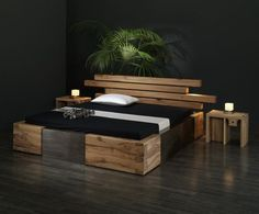 great wooden bed by LittleJo