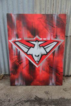 Essendon FC 2013 #graffiti #canvas by #dubiz #afl #essendon #gothedons #thedons #football #teamlogo #logo #art #fineart