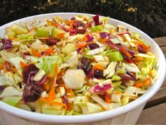 An updated and more colorful version of our traditional Railroad Cole Slaw, Slimmer Slaw adds apples and cranberries along with red cabbage and reduces the amount of sugar and oil used in the dressing.  My Own Sweet Thyme: Railroad Cole Slaw