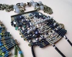 Unique micro macrame necklace pendant Black Gray by MartaJewelry