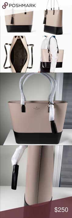 ♠️NEW Kate Spade Wright Place Karla Leather Tote♠️ New condition! Did not end up needing. Black with almondine two-toned coloring. Absolutely gorgeous. REASONABLE OFFERS ACCEPTED ONLY!😊 please be considerate since Posh takes % of profits! kate spade Bags Totes